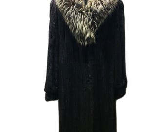 SOLD 1970's Fox Trim & Mink Full Length Coat