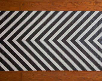 Black and White Striped Floor Cloth