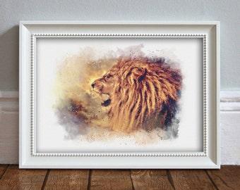 LION Watercolor Illustration Wildlife Print Lion Print Animal Decor Wall Art Home Decor Wildlife Poster - ART PRINT
