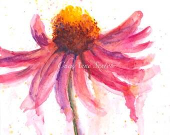 Fiesta pink  single Echinacea Blossom by CheyAnne Sexton - watercolor 6x10 ORIGINAL  bright bold pink purple fun fancy