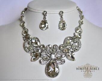 Bridal Statement Necklace Set, Wedding Jewelry Set, Vintage Inspired Necklace, Rhinestone Necklace, Bridal Necklace, Bridesmaids Jewelry