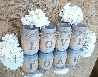Rustic LOVE Mason Jars. Farmhouse Decor. Primitive Decor. Head Table Decor. Housewarming gift. Wedding Centerpieces. Engagement Gift.