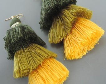 Tassel Earrings - Tiered Tassel Earrings - Statement Earrings - Green Earrings - Yellow Earrings - Long Earrings - Gold Earrings - handmade