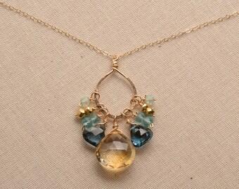 Citrine Necklace, November Birthstone, December Birthstone, Citrine Gold Chain Necklace, Healing Gemstone Jewelry, Citrine London Blue Topaz