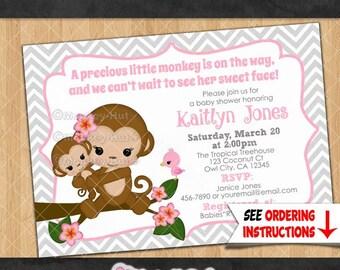 Baby Shower Girl Monkey Invitations ~ Monkey baby shower invitations melanie monkeys girls girl twin