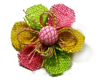 Pink, Yellow and Lime Green Small Burlap Flower Hair Clip with a Pink Scales Center