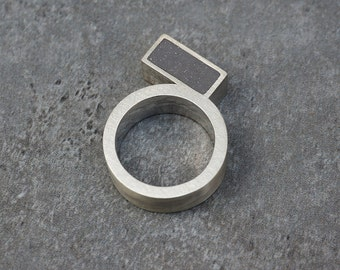 Geometry ring -Sterling Silver Architectural Ring,
