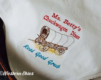 Flour Sack Towel - Tea Towel - Chuckwagon Diner - Old West Towel - Country Kitchen Decor -Western Kitchen Decor - Embroidered Tea Towel