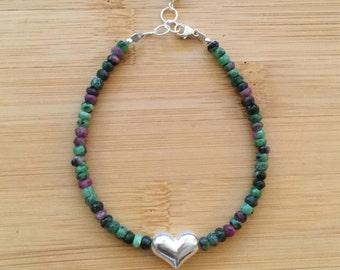 Ruby Zoisite Bracelet, Sterling Silver Heart Bracelet, Anniversary Gift, Pink and Green Beaded Bracelet, Ruby Zoisite Jewelry