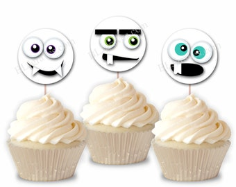 Halloween Party Cupcake Toppers, Monster Faces Party or Food Picks, Set of 12  CT005
