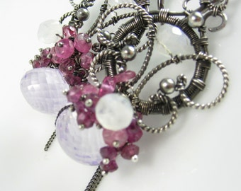 Sangria Earrring - Sterling and Fine Silver with Pink Amethyst, Tourmaline and Moonstone