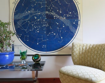 Vintage roll down school chart of the NORTHERN HEMISPHERE CONSTELLATIONS educational teaching chart