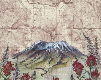 Mt St Helens Wildflowers, Mount Saint Helens painting print Mountain illustration, Washington volcano mountain print, mountain topo map art