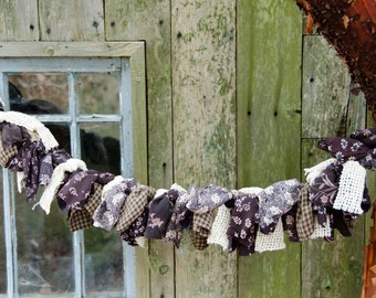 "Frayed Brown and Cream Garland  42"" Long or 3 1/2 Feet  Only 30.00 Country Kitchen or Farmhouse Decor"