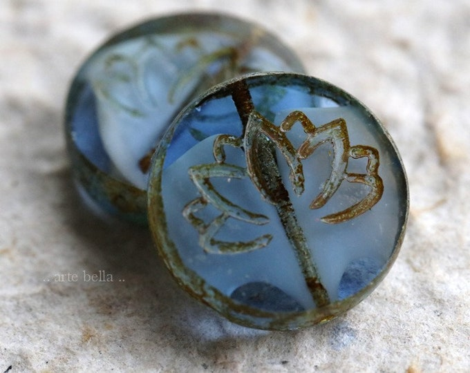 SAPPHIRE LOTUS COINS .. New 2 Picasso Czech Glass Lotus Coin Beads 19mm (6251-2)
