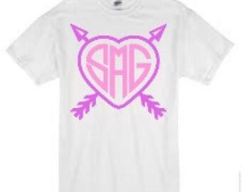 Arrow Heart Monogram-Valentine's Day Shirt