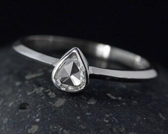 Pear Shape Rose Cut Diamond Ring - White Gold - Modern Engagement Ring
