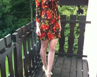 60s 70s Floral Babydoll Skater Dress Blumenkleid Boho Bohemian