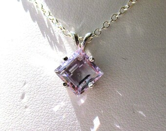 8mm Princess Cut Lilac Amethyst Sterling Silver Pendant 2.56 Cts