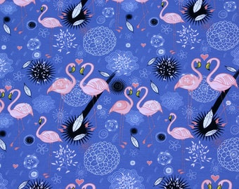 Flamingos jersey fabric, cotton knit, extra wide, kids fabric, apparel fabric, girls fabric, sold by metre, stretch fabric jeans blue fabric