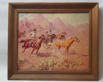 Vintage Mid-Century Adam Styka Wild West Framed Print - Pony Roundup