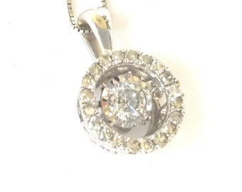 Diamond Halo Necklace 14K White Gold Vintage Estate Jewelry Special Occasion Gift