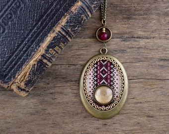 Cross stitch pendant, Golden cabochon pendant, Sparkly necklace, Brown magenta embroidery necklace, Brass jewelry, Textile jewelry SJ 061