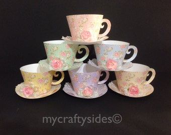 Cupcake Holder Tea Cups, or  PartyFavors, Shabby Chic Party Favors