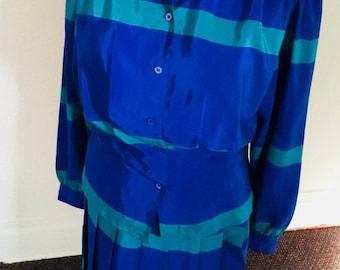 80's Vintage Blue & Green Striped 2pc Skirt Set
