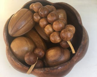 Danish modern wooden fruit and bowl  1960s-10 pieces