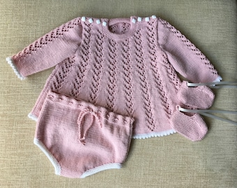 Vintage Style  Hand Knitted Pink and Cream Swing dress, Pants and Ballerina booties knitted  in the fine Sublime baby yarn.