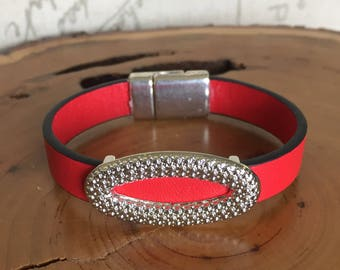 Candy Apple Red Leather bracelet