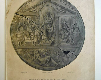 "1879 Theodosius I ""the great"" Disc. Authentic Lithograph of nineteenth century"