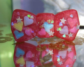 Dreamy Red Sparkle Bow Heart Sprinkle Epoxy Resin Ring Kawaii Jewelry Candy Jewelry Gift
