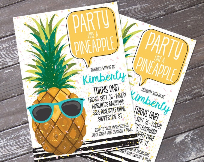 Pineapple Party Invitation - Pineapple Birthday, Party Like a Pineapple, Hawaiian Luau - Teal | DIY Editable Text INSTANT DOWNLOAD Printable