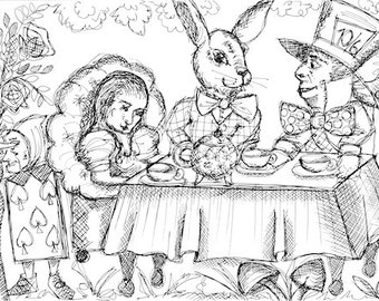 MAD HATTER'S PARTY - Giant Colouring Mural - Alice in Wonderland -  Party Activity - Colouring Therapy