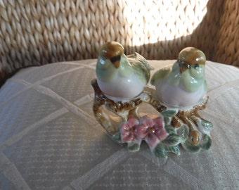 Vintage Pair of birds on tree branch bone china salt & pepper shakers