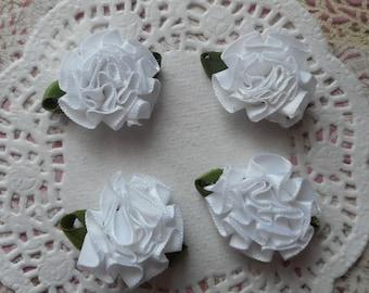 White satin flower green leaves of 3.50 cm wide (x 4 flowers)