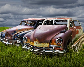 Vintage Frazer Auto Body Wrecks in a Grassy Field out to Pasture near Cooke City Montana No.24514 a Fine Art Automobile Photograph