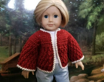 Autumn Rust Crocheted Cardigan SWEATER for 18in dolls like American Girl