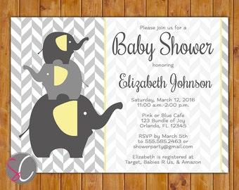 Elephant Baby Shower Party Invite Gender Neutral  Herringbone Invite Grey Yellow Stacked Elephants 5x7 Digital JPG (176)