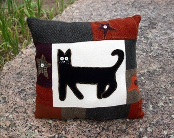 Decorative Cat Pillow Wool Primitive Fall Tones Upcycled Patchwork