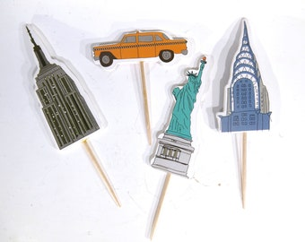 """24pc """"New York"""" tooth pick / cake topper (D63)"""