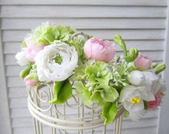 Wedding hair piece White ranunculus flower wreath Bridal flower accessories Pink peony flower Rustic wedding Garden