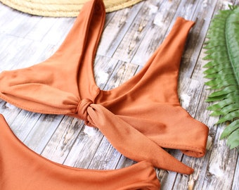 Solid Burnt Orange Bikini Top Seamless Front Tie Swim Top Womens Bikini Basic Swimsuit Beach Wear Gift For Her Vacation Swim Bow Tie bikini