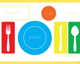 Simple Place-Setting/ Color Balloons Placemat