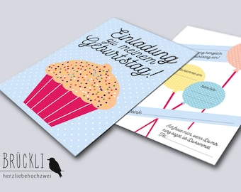 "3 invitation cards / postcards for the birthday ""Cupcake"", A6, in the set"