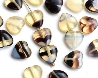 10mm Amber Yellow Heart beads, Mixed Amber Yellow and Black colored czech glass pressed beads, 20Pc - 0463