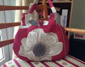 Red and Beige Poppy Flower Quilted Shoulder Handbag With Button Detail