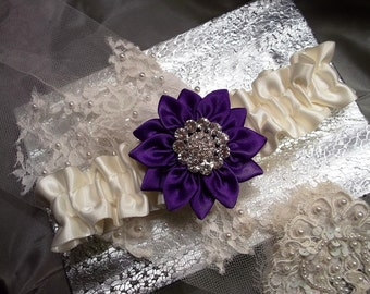 Bridal Garter, Wedding Garter belt, Prom Garter, Purple Satin Daisy and Ivory Garter with Rhinestone Center